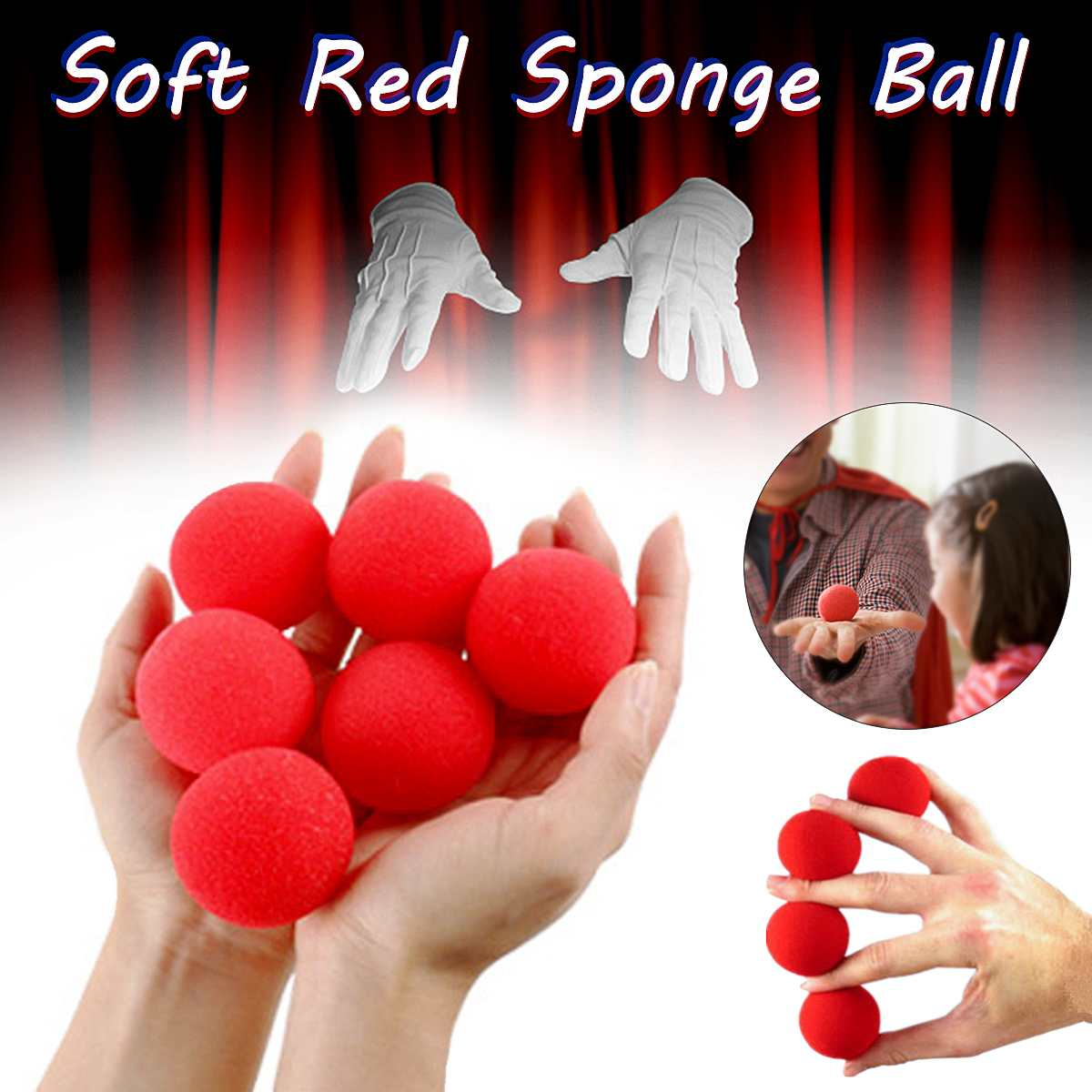4.5cm Large Sponges 5/10/30 Pieces Red Sponge Balls Funny Props Magic Props Clown Nose Tricks Toys