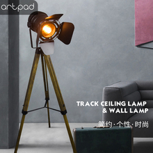Artpad Hot Sale Vintage Led Lamp Floor With Wood Lamp Foot for Office Bedroom Decoration Study Room Lighting Two Colour Choice