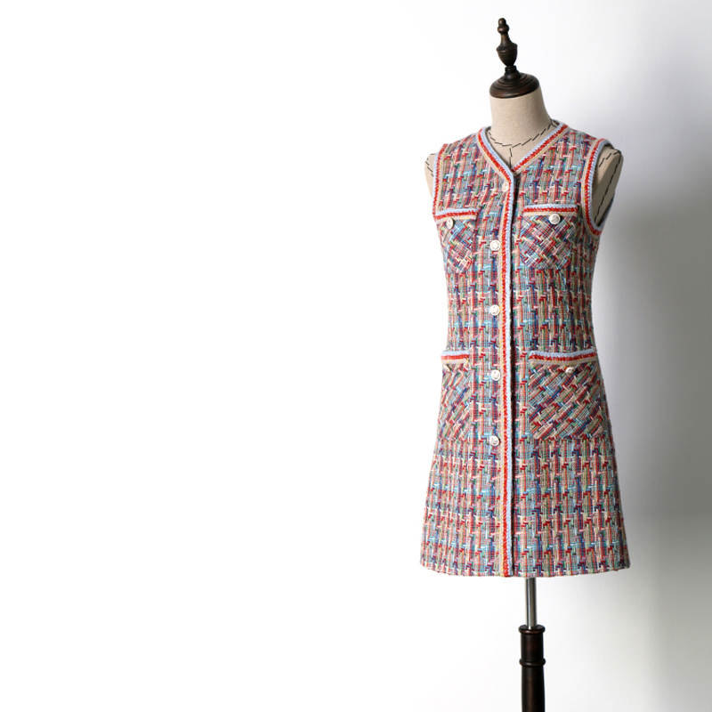 Women's Clothing Spring Autumn Women Colorful Wool Tweed Knitted Sleeveless Dresses Pockets Elegant Single Breasted V-neck Dress Jc2566 Superior Materials