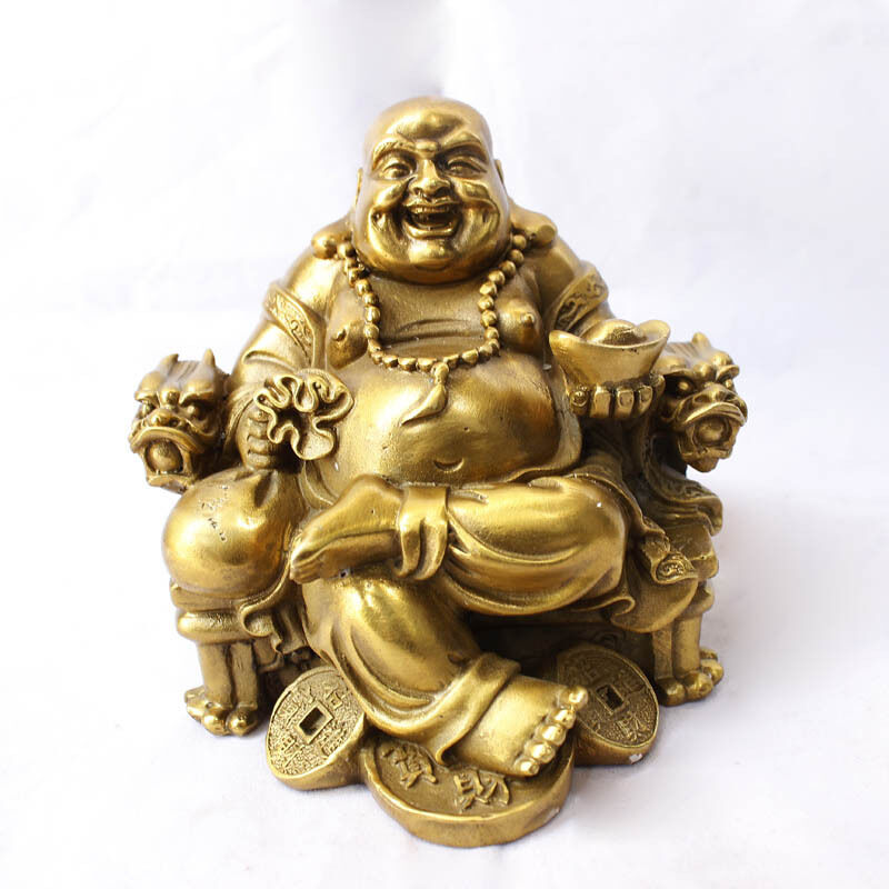 Collection Chinese Pure Copper Carved Maitreya Sit Chair Furnishing Articles Laughing Buddha Statue Exquisite Small Gift