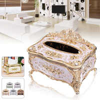 JX-LCLYL Elegant Gold Tissue Box Cover Chic Napkin Case Holder Hotel Home Decor Organizer