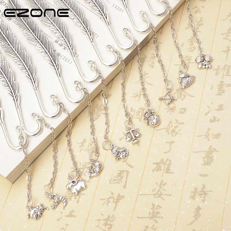 EZONE Twelve Constellation Pendant Bookmark Design Of Feather Shape Vintage Classical Book Mark For Reading School Office Supply