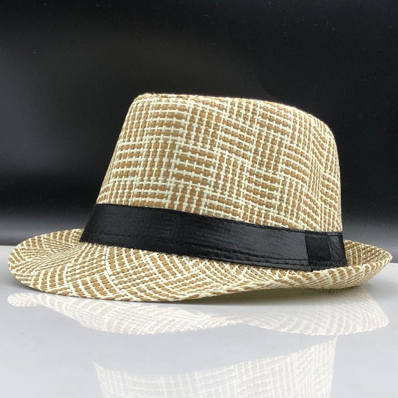 2019 Fashion Summer Straw Men's Sun Hats Fedora Trilby Gangster Cap Summer Beach Cap Panama Hat Sombrero Travel Sunhat