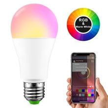 Pode ser escurecido E27 LED Bluetooth 4.0 Inteligente Lâmpada Lâmpada Mágica RGB + W RGB + WW 15 W AC85-265V Música Cor mutável Calendário Casa de Iluminação