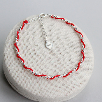 La MaxZa 925 סטרלינג כסף אופנה קלאסי אדום חבל צמידי אדום ארוג חוט קו תכשיטי חרוז Surround צמידים לנשים