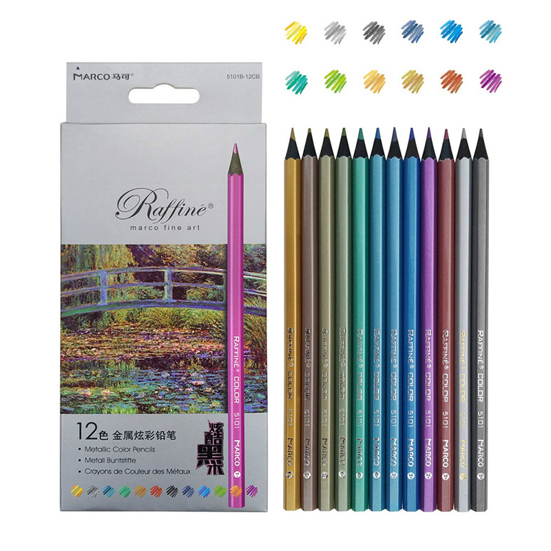Marco Metallic Color Drawing Colored Pencils 6/12 Color Artist Professional Sketching Pencils Set School Art Supplies Stationery