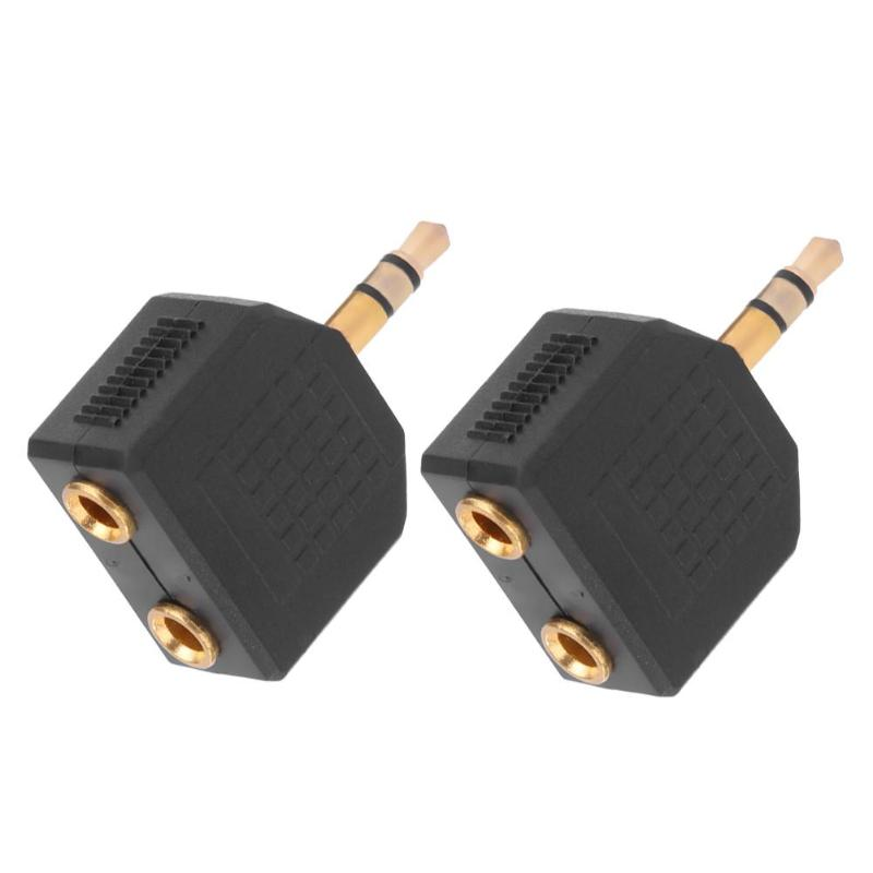 2pcs 3.5mm Gold Plated Male Stereo To Dual 3.5mm Female Jack Y Splitter Audio Adapter Converter Connector