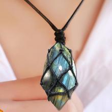 Драконы сердце лабрадорит ожерелье натуральный камень кулон обертывание коса Йога макраме ожерелье s Мужчины Женщины ожерелье с положительной энергетикой ювелирные изделия