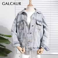 GALCAUR Summer Casual Solid Denim Jacket For Women Lapel Long Sleeve Loose Button Coat Female 2020 Fashion Clothes New Tide