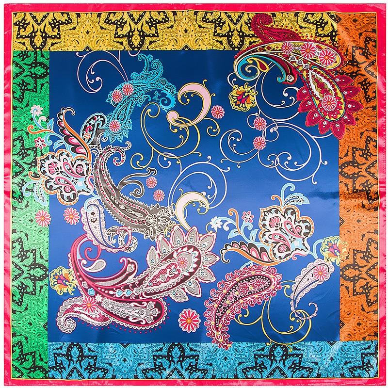 New Fashion 90*90 Large Square Color Rayon Print Silk Scarf Shawl European And American Classic Bohemia Printing Flower Spot