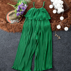 Image 3 - Good Quality Solid Chiffon Jumpsuits Women Pleated Ruffles Wide Leg Ankle Length Strapless Pants Fashion Womens Jumpsuit Pant