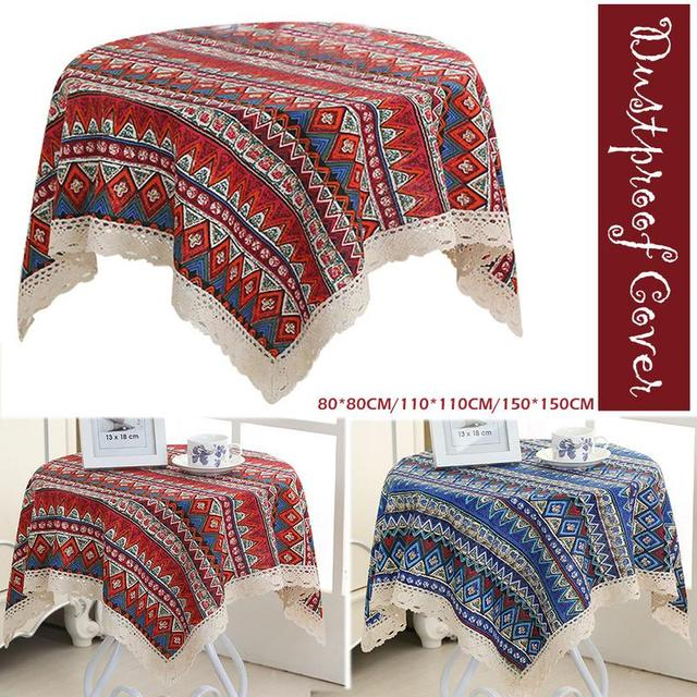 Ethnic Style Coffee Table Small Round Square Tablecloth National Home Kitchen Decoration Cloth Covers