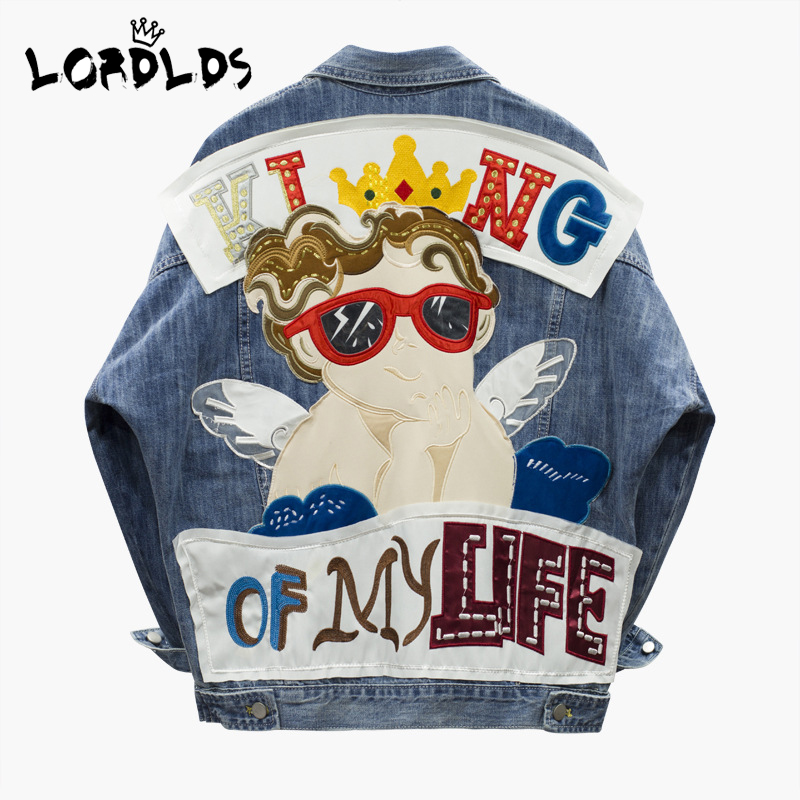 LORDLDS Jeans Jacket Patches Ladies Coats Spring Fashion Big-Size Women New with Turn-Down-Collar