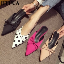 HTUUA 2019 New Spring Summer Pointed Toe Mules Shoes Women Slippers Bow Small High Heel Slides Ladies Elegant Sandals SX2168