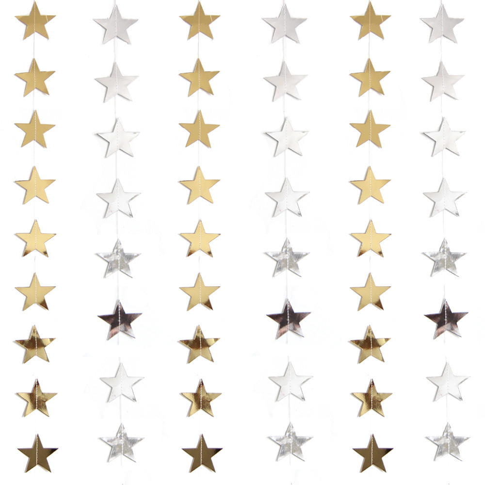 1PC Solid Color Star Wall Hanging Decoration Gold Silver Star Paper Garlands For Valentine's Day Wedding Party Room Decoration