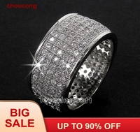 choucong Full Pave set 250pcs Stone 5A Zircon stone 10KT White Gold Filled Wedding Band Ring Set Sz 5 11 Free shipping