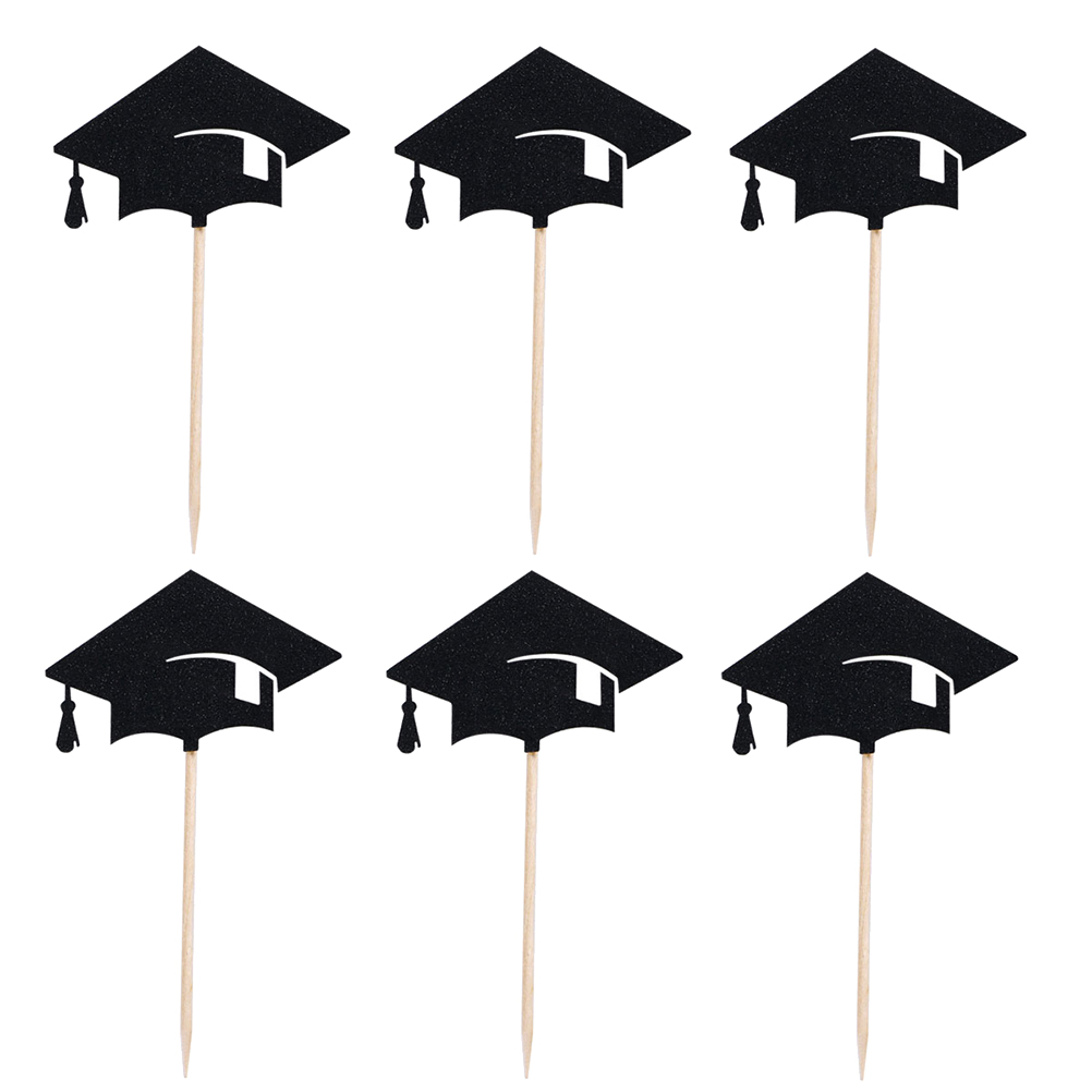 24pcs 2020 Graduation Hat Cupcake Topper Paper Cake Inserted Card Fruit Picks Care Adornment For 2020 Graduation Party