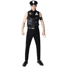 цена Adult Policeman Costume For Man Police Costume Cosplay Uniform Halloween Costume For Men Carnival Party Suit онлайн в 2017 году
