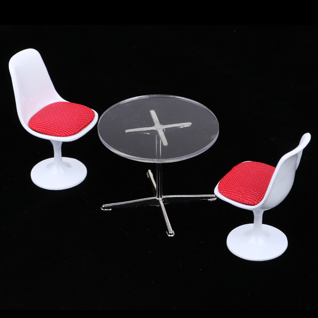 1/12 Dollhouse Miniature Furniture Tulip Chair Turning Chair &Round Coffe Table Model Accessories Kids Pretend Play Toy