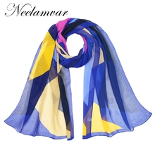 Neelamvar 2019 brand scarf women autumn and winter print scarves shawl silk chiffon oblong hijab wraps wholesale