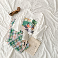 Casual Fashion Summer Two Piece Sets Women Print T shirt + Plaid Midi Skirt Summer Set Matching Set