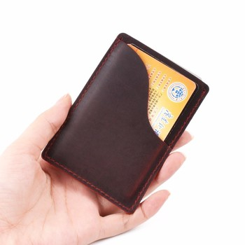 цена на Moterm Genuine Leather Business Credit ID Card Holder Crazy Horse Leather Travel Credit Wallet Men Purse Case Free Shipping