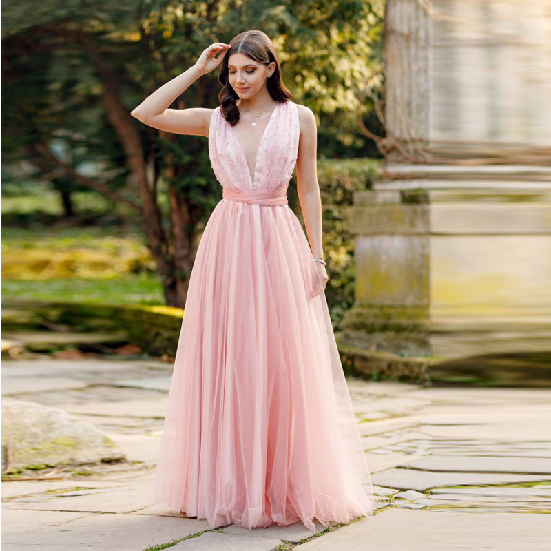 Pink Lace   Prom     Dresses   2018 Cheap Backless A-line Tull Sleeveless V-neck Sexy Long Party Gowns For Wedding Vestido De Festa