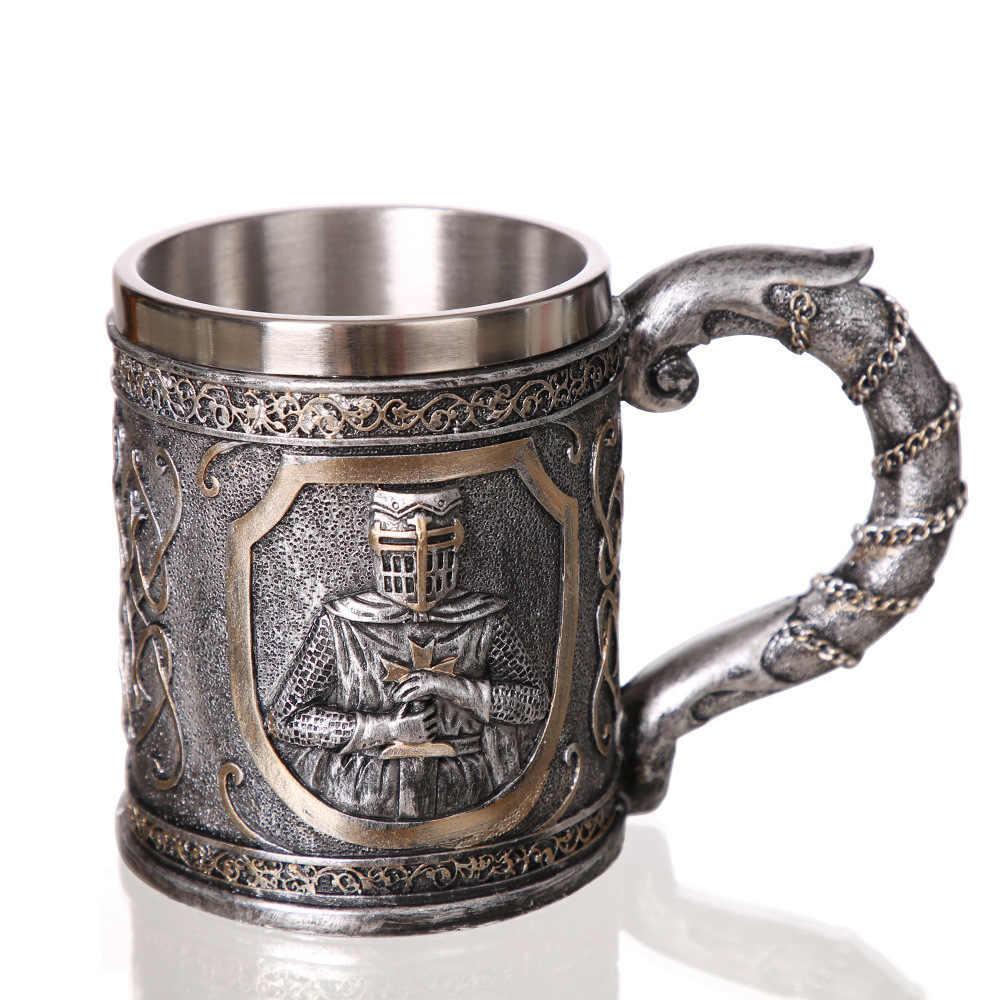 Retro 3D Relief Tengkorak Tahan Ksatria Pedang Game Of Thrones Abad Pertengahan Bir Mug Stainless Steel Goblet Piala Bar Club Mabuk gelas Anggur