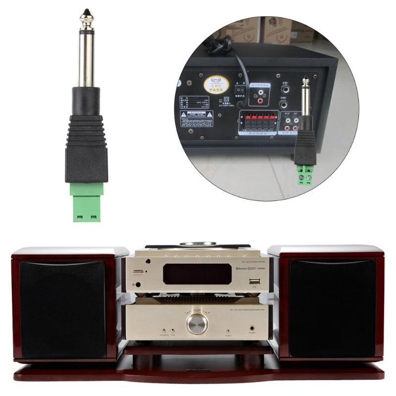6.35mm Mono TS Male to AV Screw Video Balun Terminal Adapter Converter Plug 6.35mm TS Mono 2pin Screw Terminal Adapter Plug