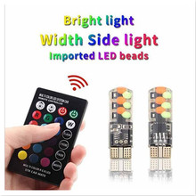 2pcs T10 W5W RGB LED Bulbs With Remote Control 12Chips COB Silicone Shell Strobe Flash Auto Reading Lamp Wedge Car Parking Light