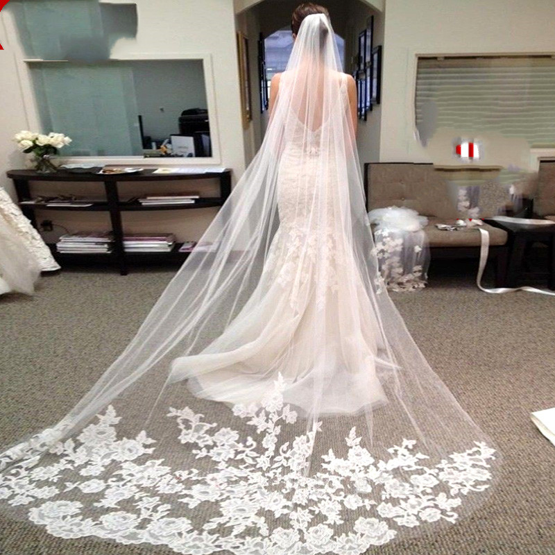 2019 One Layer Lace Edge White Ivory Cathedral Wedding Veil Long Bridal Veil