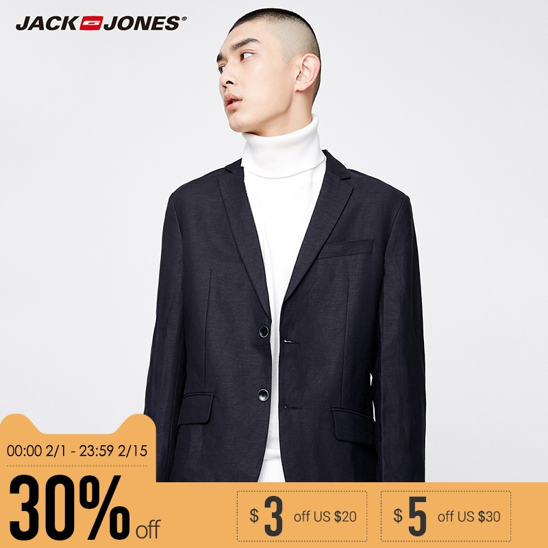JackJones Brand 2019 NEW fashion slim fit version notched collar single breasted button decoration outwear men blazers|217108516