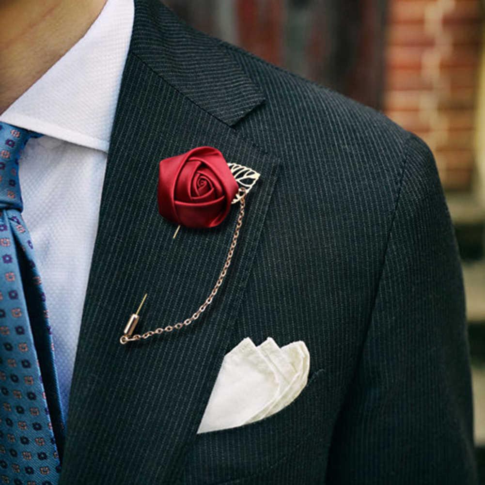 男性のスーツローズフラワーブローチピンキャンバス生地リボンネクタイ 19 色のブローチと男性服ドレスアクセサリー