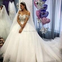 1d11980f4 Romántico elegante bola vestido boda vestidos hombro vestidos De novia De encaje  vestido De novia Puffy cordón tul vestido De Ma.