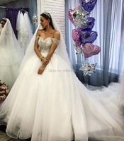 Romantic Elegant Ball Gown Wedding Dresses Off Shoulder Bridal Gowns Lace Bride Dress Puffy Tulle Beading Robe De Mariee 2019