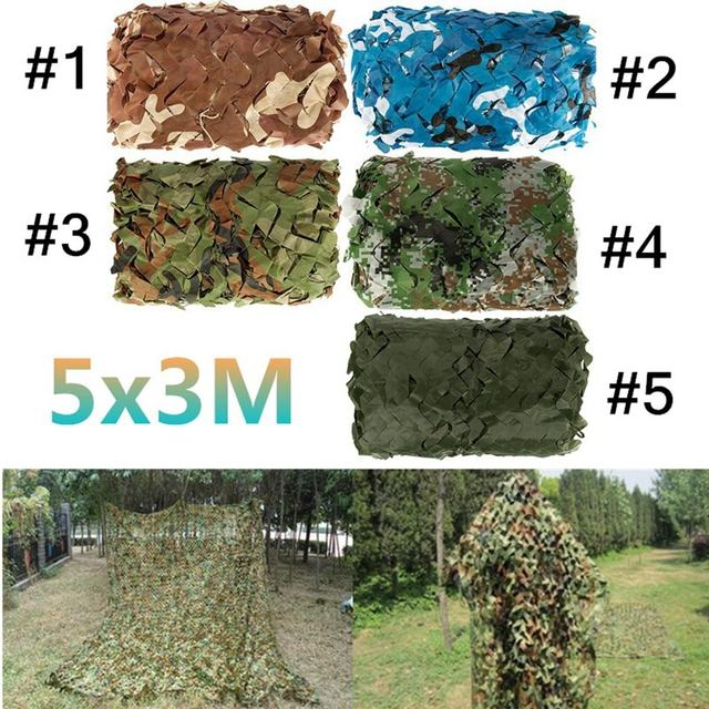 5x3m Outdoor Military Camouflage Net Camo for Hunting Covering Camping Woodlands Leaves Hide Sun Shelter Car-cover 5 Color