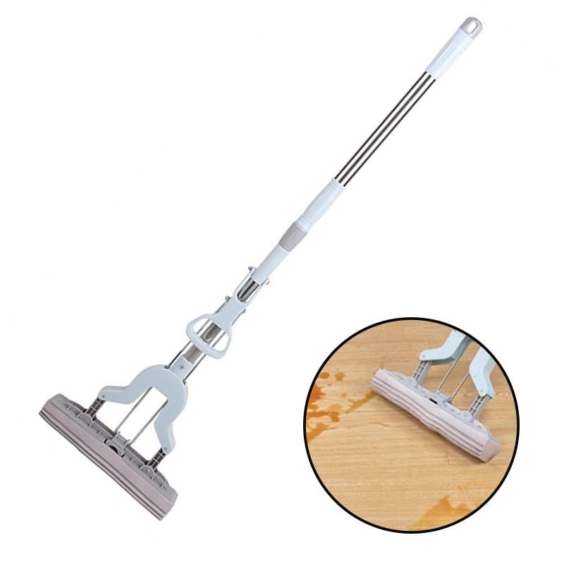 Floor Mop Telescopic Handle Absorbent Sponge Mop Stainless Steel Handle Mop Home Floor Cleaning Tool Home Bathroom Kitchen Clean