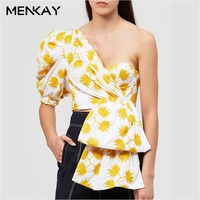 MENKAY Print Puff Half Sleeve Shirt Women Asymmetrical Off Shoulder Summer Crop Top Female 2019 Sexy Casual Fashion Tide