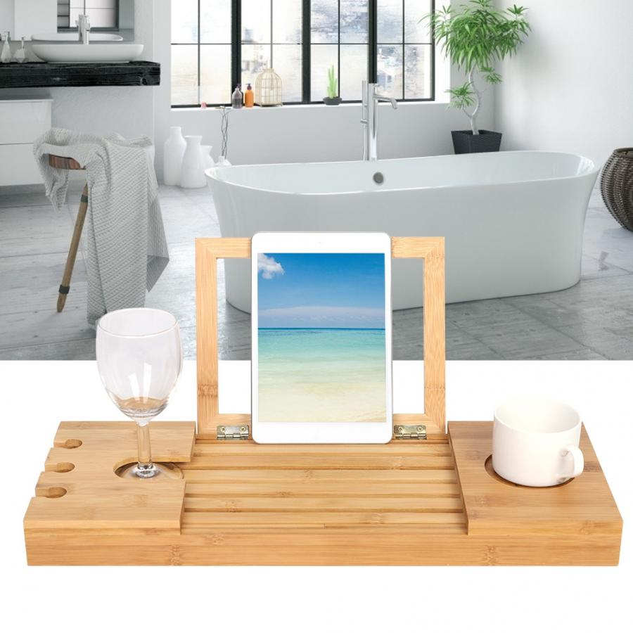 Bamboo Bathroom Tray Telescoping Bathtub Desk For Phone Laptop Notebook Wine Glasses Candles Bathroom Holder Bathroom Shelves