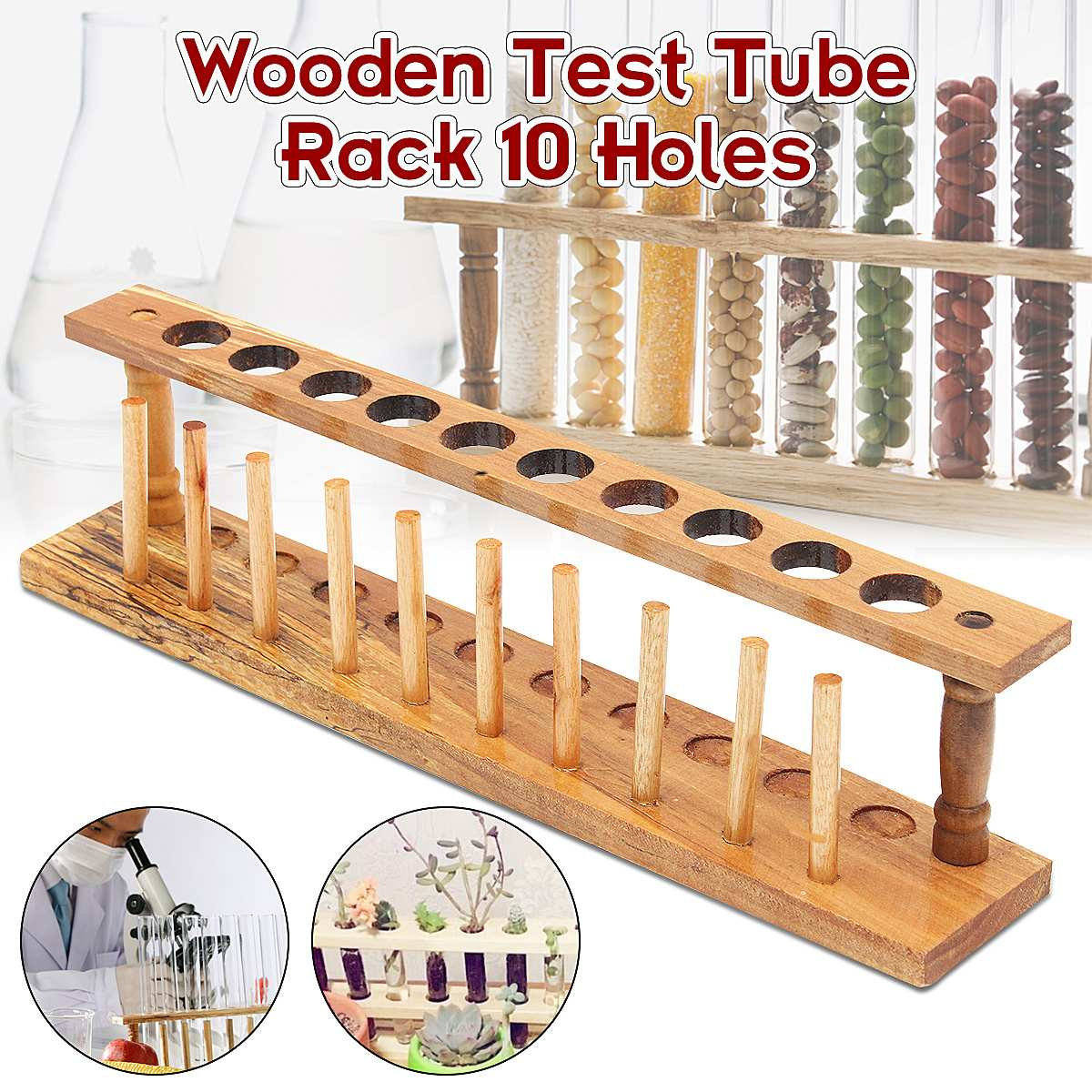 10 Holes Test Tube Rack Laborator Testing Tubes Clip Holder Stand Shelf Dropper Wood With 10 Stand Sticks Lab Supplies
