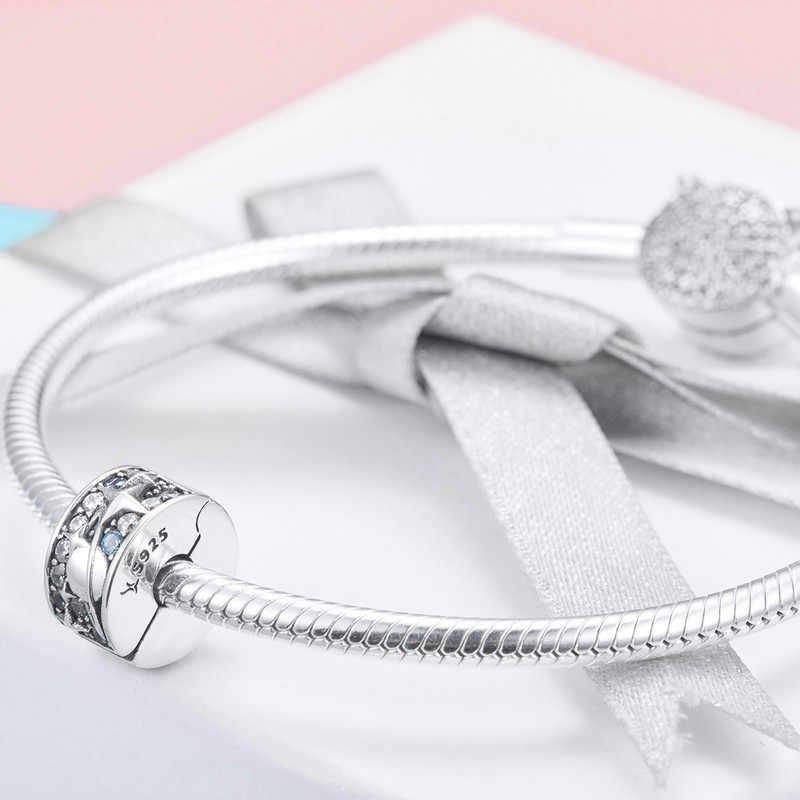 BISAER פקק אותנטי 925 כסף סטרלינג Galaxy כוכב כוכב קליפ קסם fit נשים נחש צמיד ולנטיין מתנה GXC985