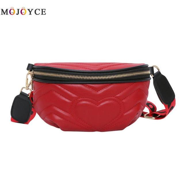 Women Waist Pack Wave Love Heart Pattern Leather Fanny Packs Ladies Chest Money Belt Bags