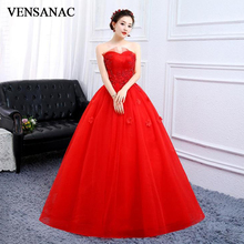 VENSANAC 2019 Lace Appliques Strapless Ball Gown Wedding Dresses Off The Shoulder Flowers Backless Bridal Dress