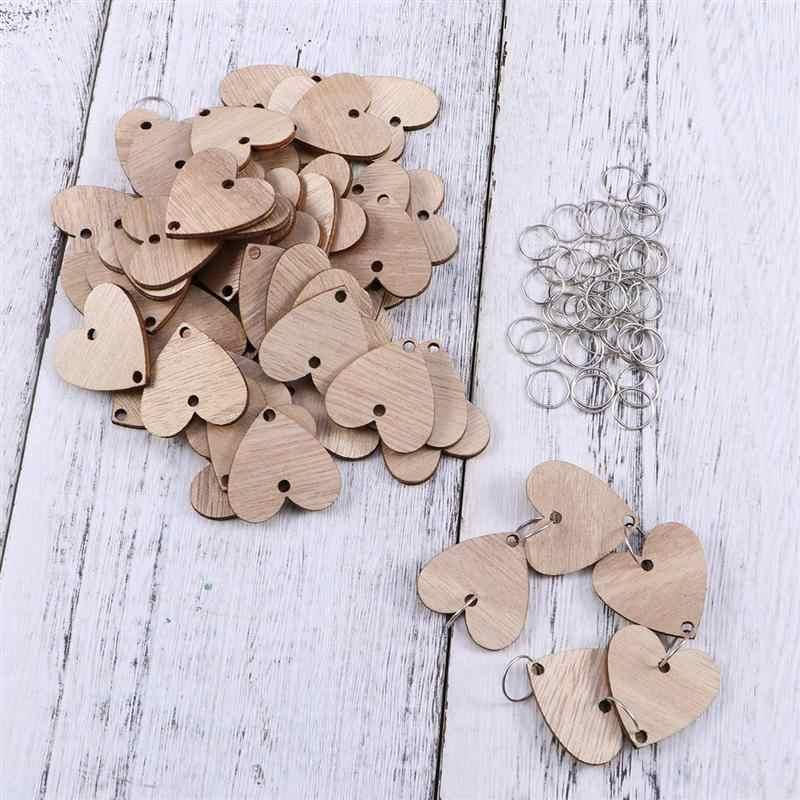 Artesanías de madera 50 Uds corazón rodajas de madera con 50 bucles de hierro Set para Recordatorio de cumpleaños Colgante placa de madera tabla Calendario de bricolaje