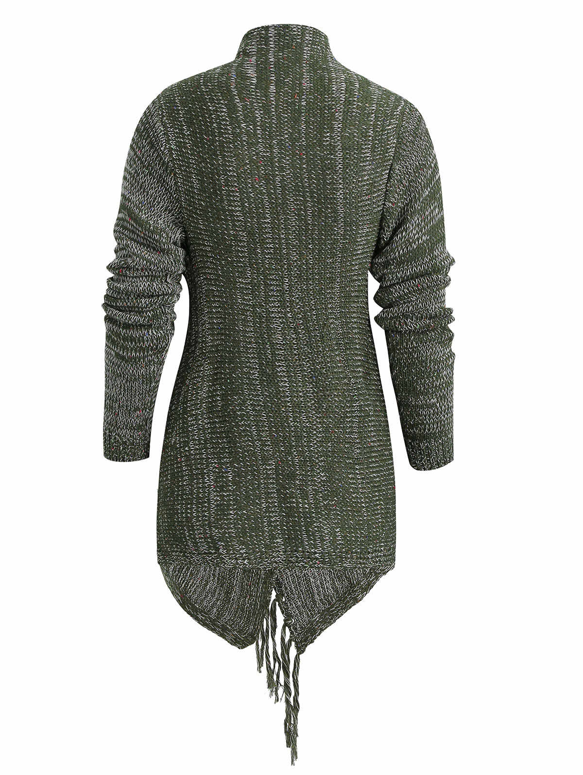 Wisalo трикотажное стильное кимоно для женщин, женское асимметричное с бахромой, с длинным рукавом, повседневное, однотонное, серое, с запахом, женская одежда