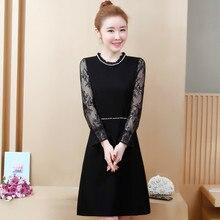 Spring Autumn Women Hollow Out Bodycon Lace Crochet Office Dress Elegant O-neck Long Sleeve Party Dresses Plus Size цена и фото
