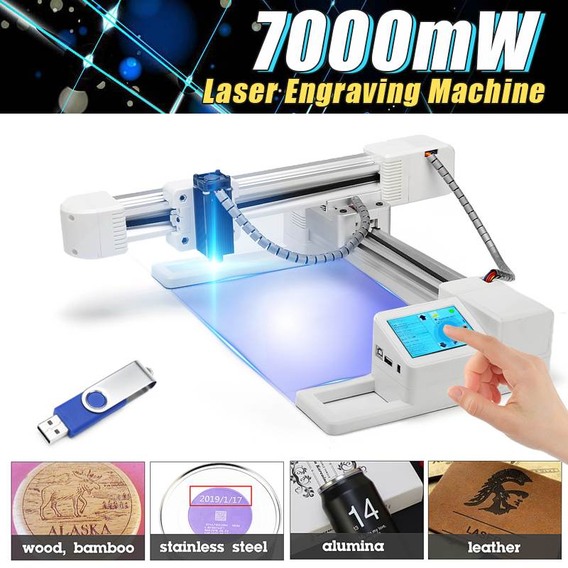 3000mw/7000mW Professional DIY Desktop Mini Laser Engraver Cutter Engraving Wood Cutting Machine CNC Router Logo Mark Printer