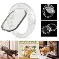 4 Ways Round Transparent Pet Dog Flap Door PC Household Cat Gate Lockable Security Pet Entrance Glass Window Puppy Hole Door