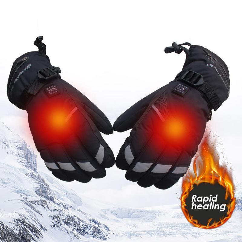 лучшая цена 1 Pair Waterproof Heated Gloves 5 Speed Adjustment USB Charging Hand Warmer For Motorcycle cycling Hunting Winter Gloves
