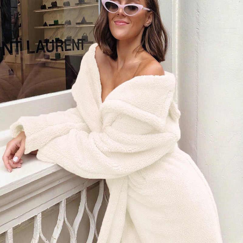 Phụ nữ Faux Fur Coat Fluffy Ấm Outwear Sang Trọng Lần Lượt Xuống Cổ Áo Lông Phụ Nữ Áo Khoác Mùa Đông Màu Hồng Lỏng Cardigan Rãnh Tinh Khiết màu sắc